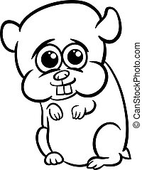 baby hamster cartoon coloring page - Black and White Cartoon...