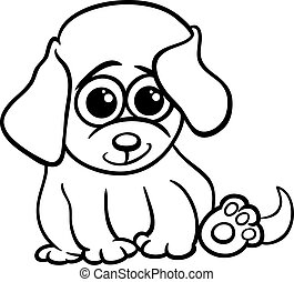 baby puppy cartoon coloring page - Black and White Cartoon...