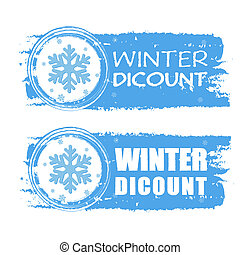 winter discount with snowflake on blue drawn banners -...