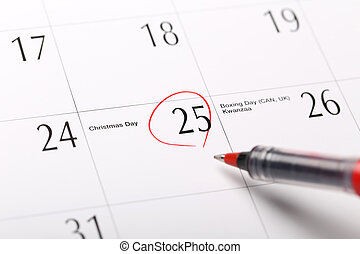 A date circled on a calendar