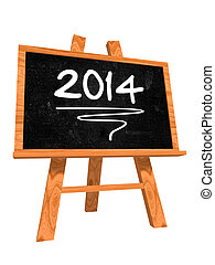 new year 2014 on blackboard - new year 2014 - 3d isolated...