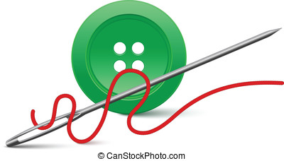 Needle and button Vector illustration