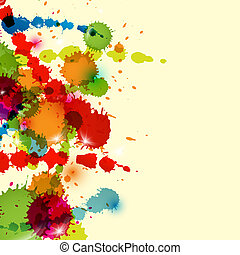 Colorful Splashes, Blots Background - Abstract Vector...