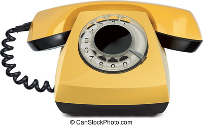 Telephone yellow, vintage, isolated