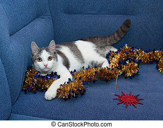 White kitten with gray spots playing with golden Christmas...
