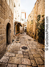 Narrow stone streets of ancient Tel Aviv, Israel - Jewish...