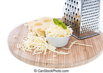 Emmentaler with Cheese Grater on white - Emmentaler with...