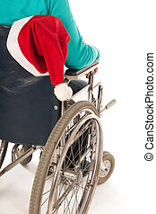 Person in wheelchair with Christmas