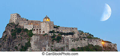 Aragonese Castle in Ischia island by night - Aragonese...