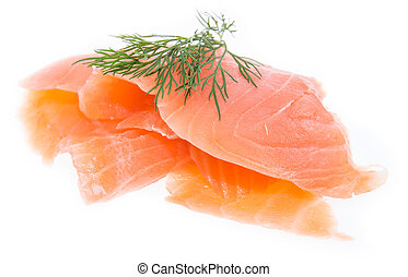 Heap of Salmon on white - Heap of Salmon topped with Dill...