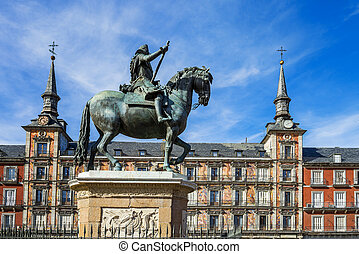 Plaza Mayor, Madrid, Spain - View of Statue of King Philips...