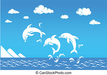 white dolphins jumping over sea - white dolphins jumping...