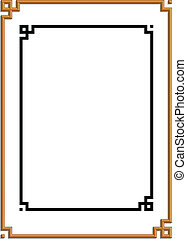 golden frame - 3D vector of beautiful golden frame chinese...