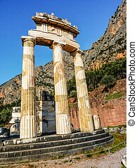 Athena Pronoia Temple at Delphi in Greece - Temple of Athena...