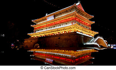 Night view of Drum Tower in Xian