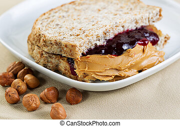 Peanut Butter and Jelly Sandwich - Closeup horizontal photo...