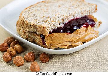 Peanut Butter and Jelly Sandwich - Closeup horizontal photo...