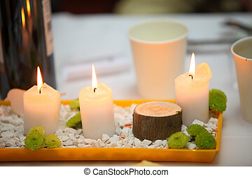 Romantic atmosphere with candle table setting