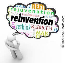 Reinvention Word Thought Cloud Thinker Planning Change -...