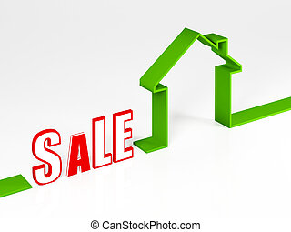 image 3d of green eco sale  house metaphor background