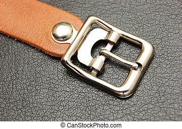 cinturón, hebilla, negro, cuero