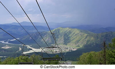 Ski chairlift on Mount Shallow Sinyuha. Altai Republic....