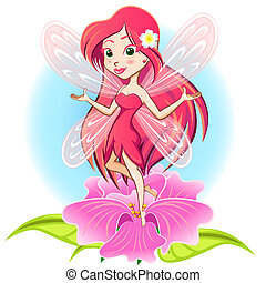 Fairy Princess Flying Above a Flowe - Beautiful Fairy Elf...