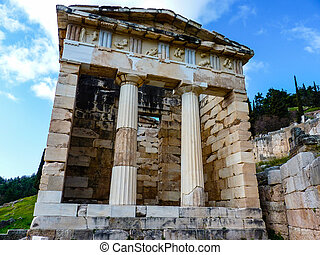Athenian treasury, Delphi, Greece - Treasure of the...