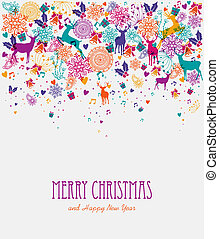 Merry Christmas colorful greeting card - Christmas holiday...