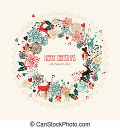 Merry Christmas vintage wreath card - Vintage Christmas...