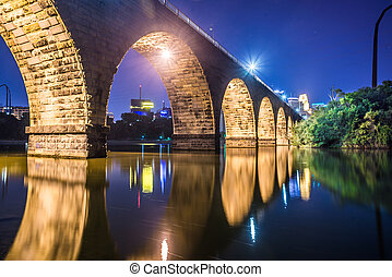 night scene of stone bridge - Night scenic view of stone...