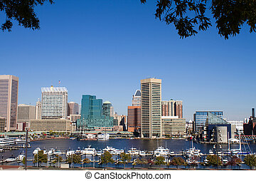 Baltimore Harbor Skyline - Skyline of Baltimore city...