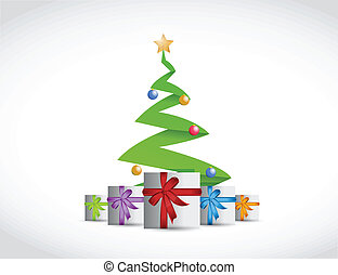christmas tree and presents illustration design over a white...