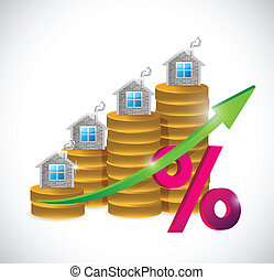 coin percentage real estate graph illustration design over a...