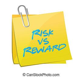 risk vs reward post illustration design over a white...