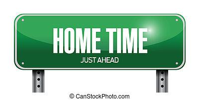 home time road sign illustration design
