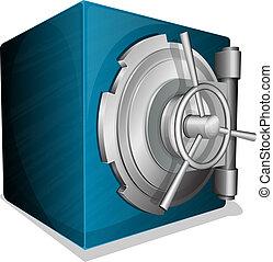 blue square vault - Vector illustration of blue square safe...