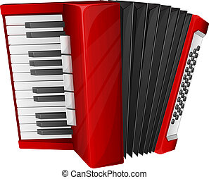 Red accordion - Vector illustration red accordion isolated...