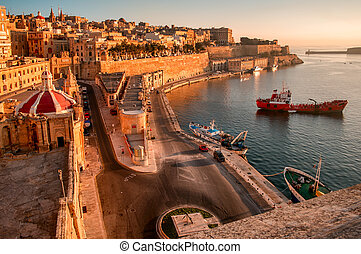 Valetta at early morning - Ancient walls and streets of...
