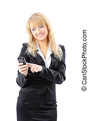 A businesswoman is holding mobile phone - on white...