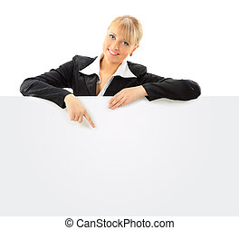 Beautiful business woman with a white banner. Isolated on a...