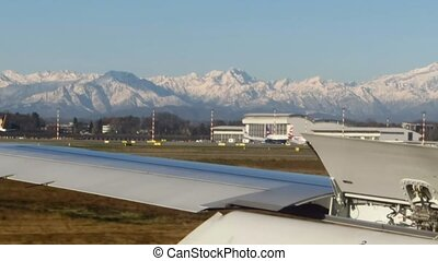 airplane landing - airport track, airplane landing