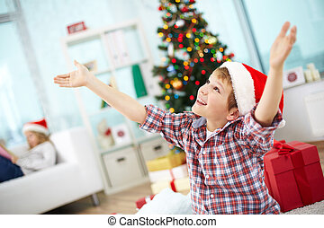 Christmas joy - Portrait of joyyful boy with raised arms...