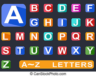 flat alphabet Long shadow icons - isolated flat alphabet...