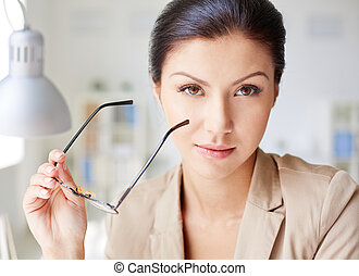 Elegant business lady - Pretty businesswoman with eyeglasses...