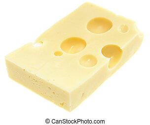Piece of Emmentaler on white - Piece of Emmentaler Cheese...