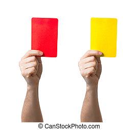 futebol, vermelho, amarela, cartão, mostrando,...