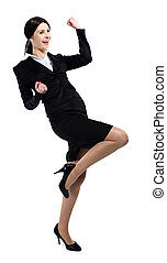 Successful business woman celebrating - isolated over a...