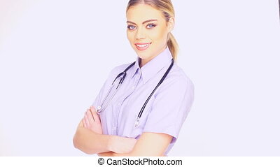 Young female doctor - Close up of the face of a beautiful...