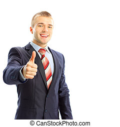 Young business man giving thumb up, isolated on white